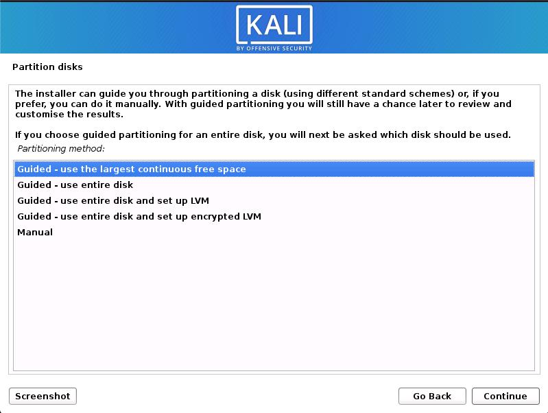 Kali Linux installation on MacBook