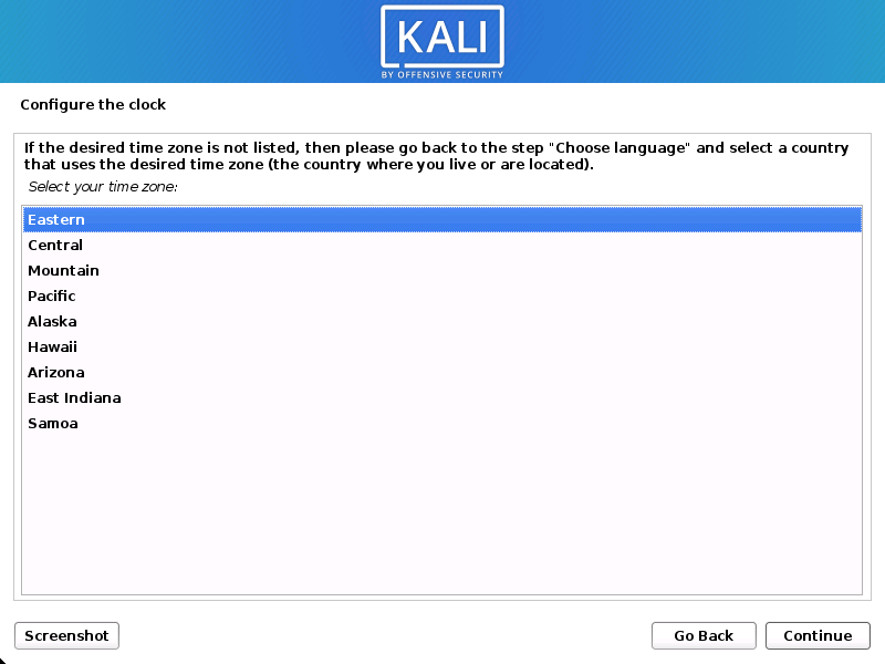 Kali Linux install configuring the time zone