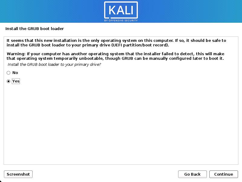 Kali Linux install GRUB boot loader