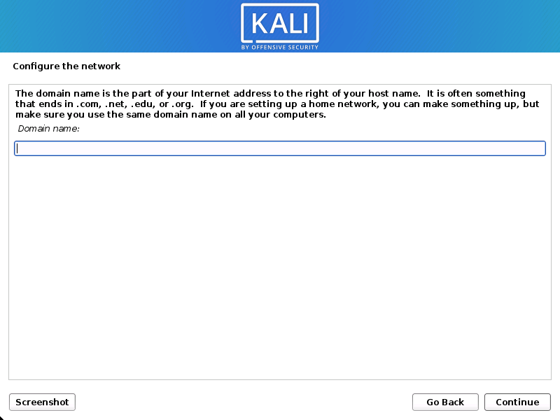 KAli Linux install domain
