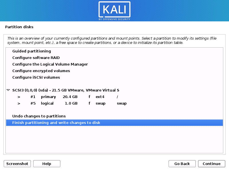 Kali Linux install finish disk partition