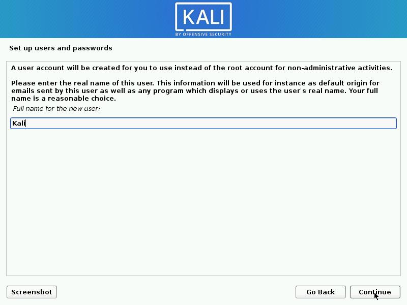 Kali Linux setting name