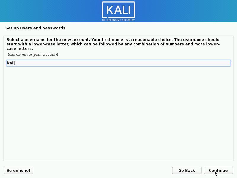Kali Linux install username setup