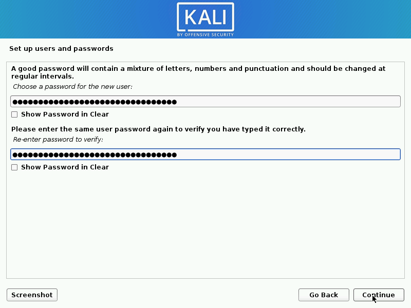 Setting root password for Kali LInux
